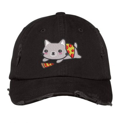 Cat With Pizza Embroidered Hat Distressed Cap Designed By Madhatter