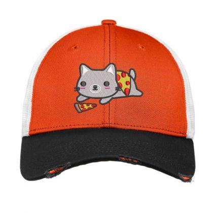Cat With Pizza Embroidered Hat Vintage Mesh Cap Designed By Madhatter