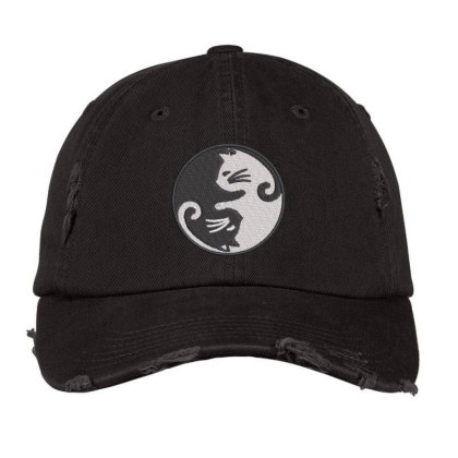Cat Embroidered Hat Distressed Cap Designed By Madhatter