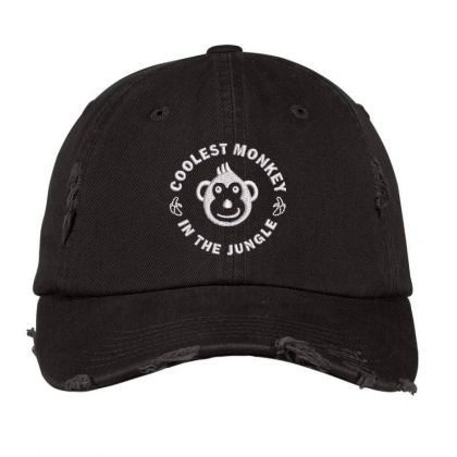 Coolest Monkey Embroidered Hat Distressed Cap Designed By Madhatter
