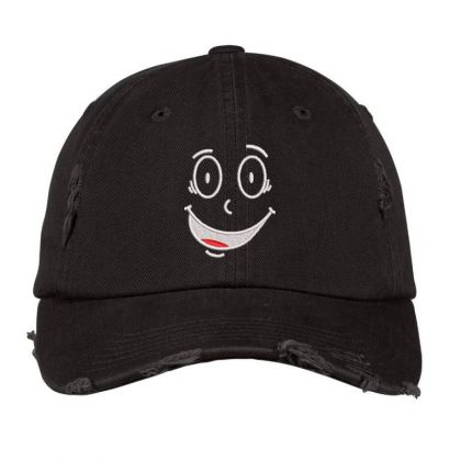 Funny Face Embroidered Hat Distressed Cap Designed By Madhatter