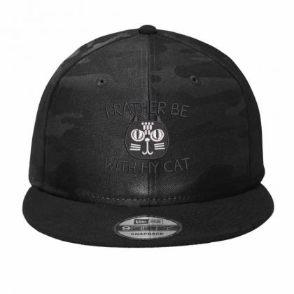 I Rather Be With Hy Cat Camo Snapback Designed By Madhatter