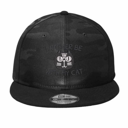 I Rather Be With Hy Cat Embroidered Hat Camo Snapback Designed By Madhatter