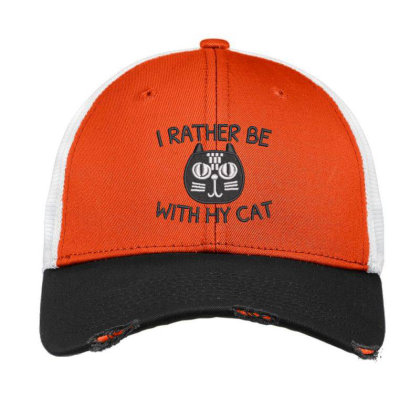 I Rather Be With Hy Cat Embroidered Hat Vintage Mesh Cap Designed By Madhatter