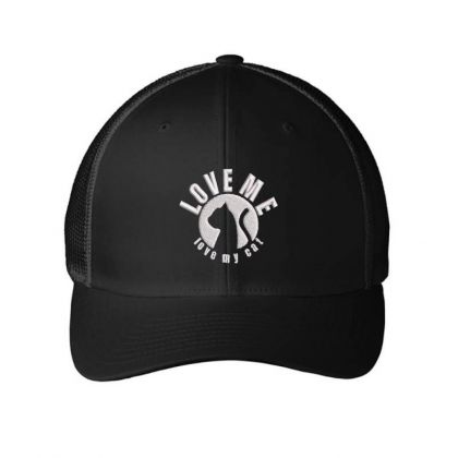 Love Me Love My Cat Embroidered Hat Embroidered Mesh Cap Designed By Madhatter