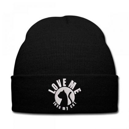 Love Me Love My Cat Embroidered Hat Knit Cap Designed By Madhatter