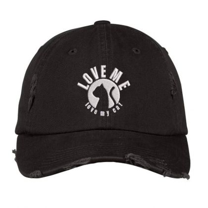Love Me Love My Cat Embroidered Hat Distressed Cap Designed By Madhatter