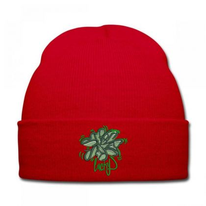 Lucky Embroidered Hat Knit Cap Designed By Madhatter
