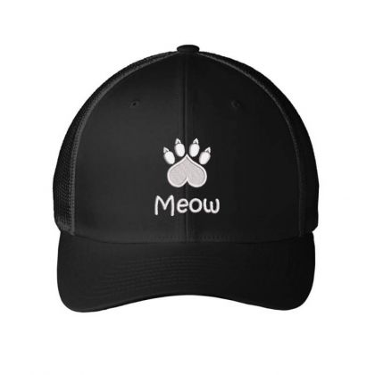 Meow Paw Embroidered Hat Embroidered Mesh Cap Designed By Madhatter