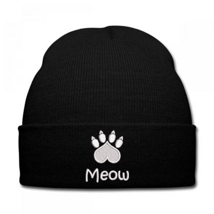 Meow Paw Embroidered Hat Knit Cap Designed By Madhatter