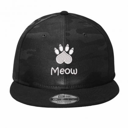 Meow Paw Embroidered Hat Camo Snapback Designed By Madhatter