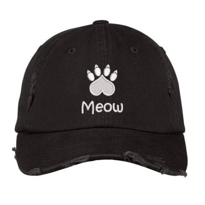 Meow Paw Embroidered Hat Distressed Cap Designed By Madhatter