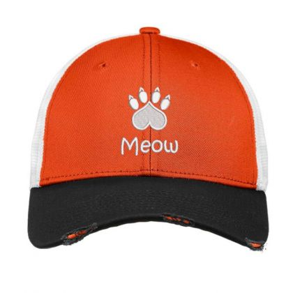 Meow Paw Embroidered Hat Vintage Mesh Cap Designed By Madhatter