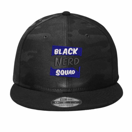Black Nerd Squad Embroidered Hat Camo Snapback Designed By Madhatter