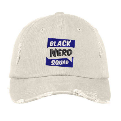 Black Nerd Squad Embroidered Hat Distressed Cap Designed By Madhatter
