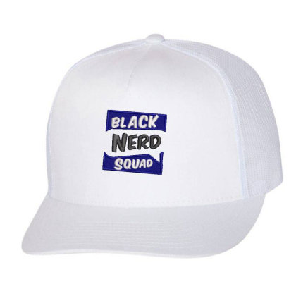 Black Nerd Squad Embroidered Hat Trucker Cap Designed By Madhatter