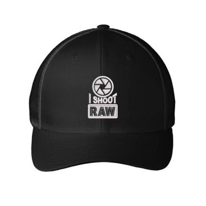 I Shoot Raw Embroidered Ha Embroidered Mesh Cap Designed By Madhatter
