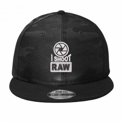 I Shoot Raw Embroidered Ha Camo Snapback Designed By Madhatter