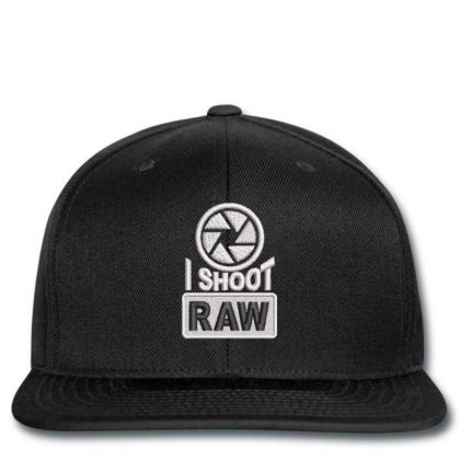 I Shoot Raw Embroidered Ha Snapback Designed By Madhatter