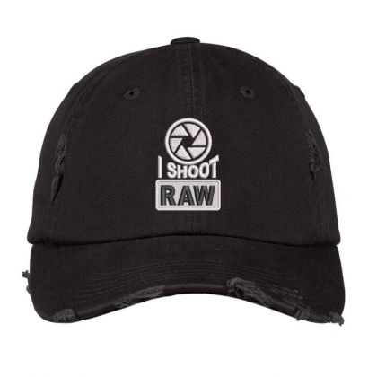 I Shoot Raw Embroidered Ha Distressed Cap Designed By Madhatter