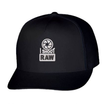 I Shoot Raw Embroidered Ha Trucker Cap Designed By Madhatter
