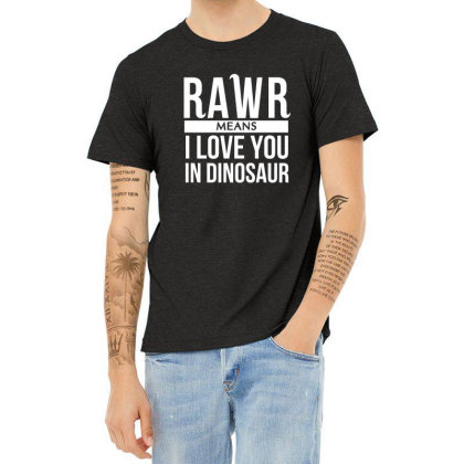 Rawr Means I Love You In Dinosaur Heather T-shirt Designed By Hoainv