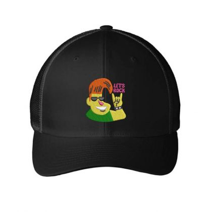 Let's Rock Embroidered Hat Embroidered Mesh Cap Designed By Madhatter