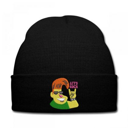 Let's Rock Embroidered Hat Knit Cap Designed By Madhatter