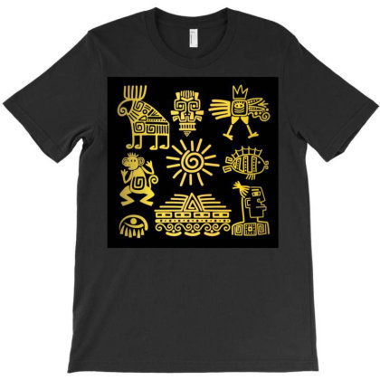 Maya Style Gold Linear Totem Icons T-shirt Designed By Salmanaz