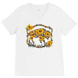 Wild and Free Sunflower Buffalo V-Neck Tee | Artistshot