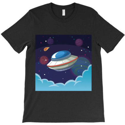 Ufo Alien Spaceship Galaxy T-shirt Designed By Salmanaz