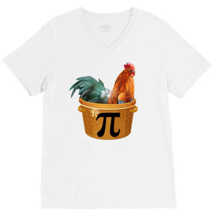 Chicken Pot Pi Day V-neck Tee Designed By Badaudesign