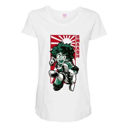 Boku No Hero Maternity Scoop Neck T-shirt Designed By Paísdelasmáquinas