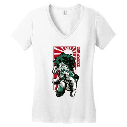 Boku No Hero Women's V-neck T-shirt Designed By Paísdelasmáquinas