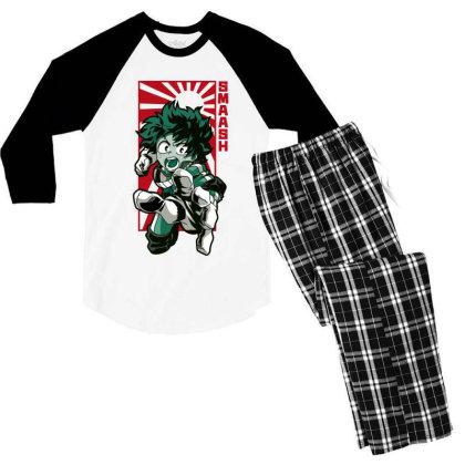 Boku No Hero Men's 3/4 Sleeve Pajama Set Designed By Paísdelasmáquinas