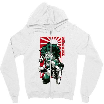 Boku No Hero Zipper Hoodie Designed By Paísdelasmáquinas