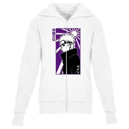 Pain Naruto Youth Zipper Hoodie Designed By Paísdelasmáquinas