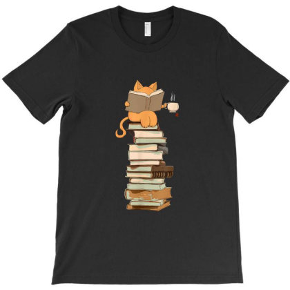Cat Tea And Books Gift T-shirt Designed By Mrt90
