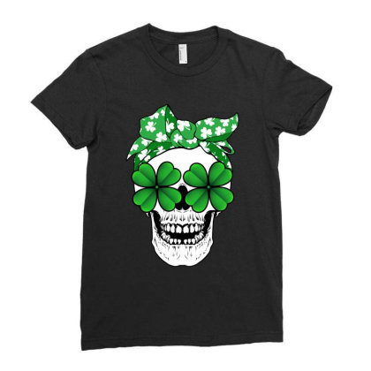 Clover Skull With Polka Bandana Ladies Fitted T-shirt Designed By Honeysuckle