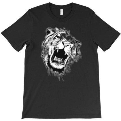 Black And White Roaring Lion Tattoo Design T-shirt Designed By Mehar Badshah