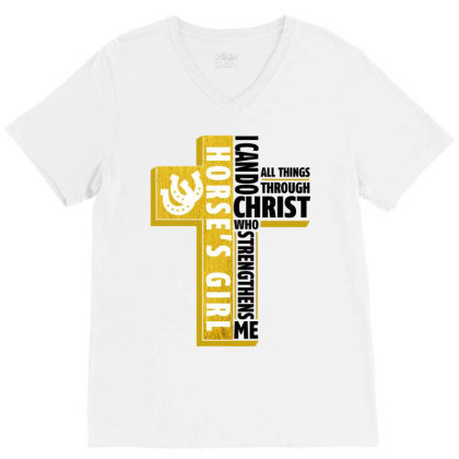 I Can Do All Things Through Christ Horse For Light V-neck Tee Designed By Gurkan