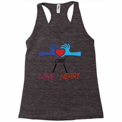 Care Heart Love Racerback Tank Designed By Oht