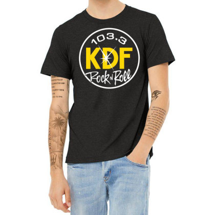 103.3 Kdf Rock N Roll Art Heather T-shirt Designed By Coolkids