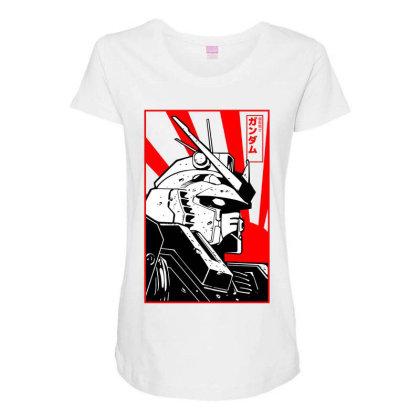 Gundam Head Maternity Scoop Neck T-shirt Designed By Paísdelasmáquinas