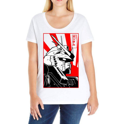 Gundam Head Ladies Curvy T-shirt Designed By Paísdelasmáquinas