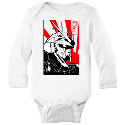 Gundam Head Long Sleeve Baby Bodysuit Designed By Paísdelasmáquinas