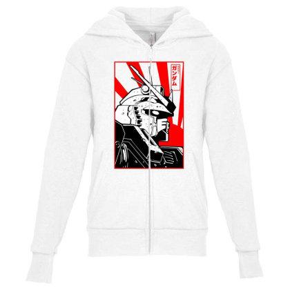 Gundam Head Youth Zipper Hoodie Designed By Paísdelasmáquinas
