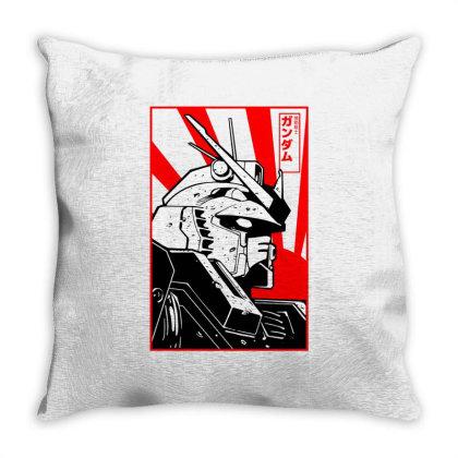 Gundam Head Throw Pillow Designed By Paísdelasmáquinas
