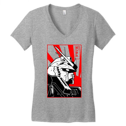 Gundam Head Women's V-neck T-shirt Designed By Paísdelasmáquinas