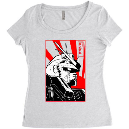 Gundam Head Women's Triblend Scoop T-shirt Designed By Paísdelasmáquinas